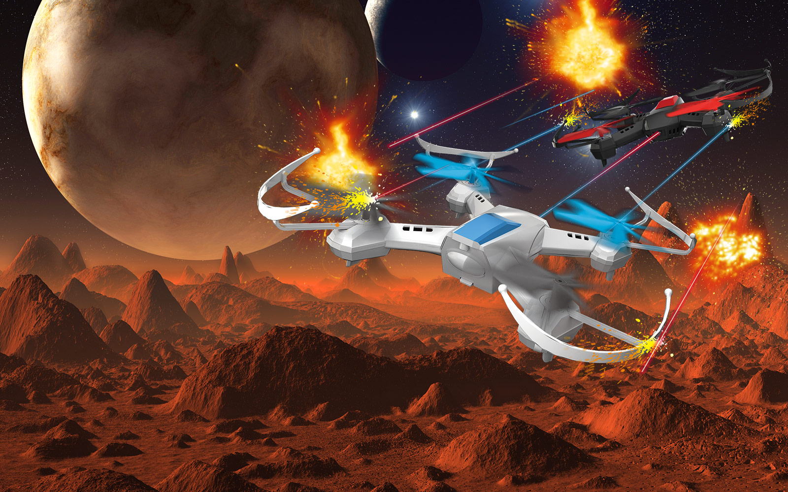 Illustrated depiction of DGL Toys' Quadrone products battling each other over an alien landscape
