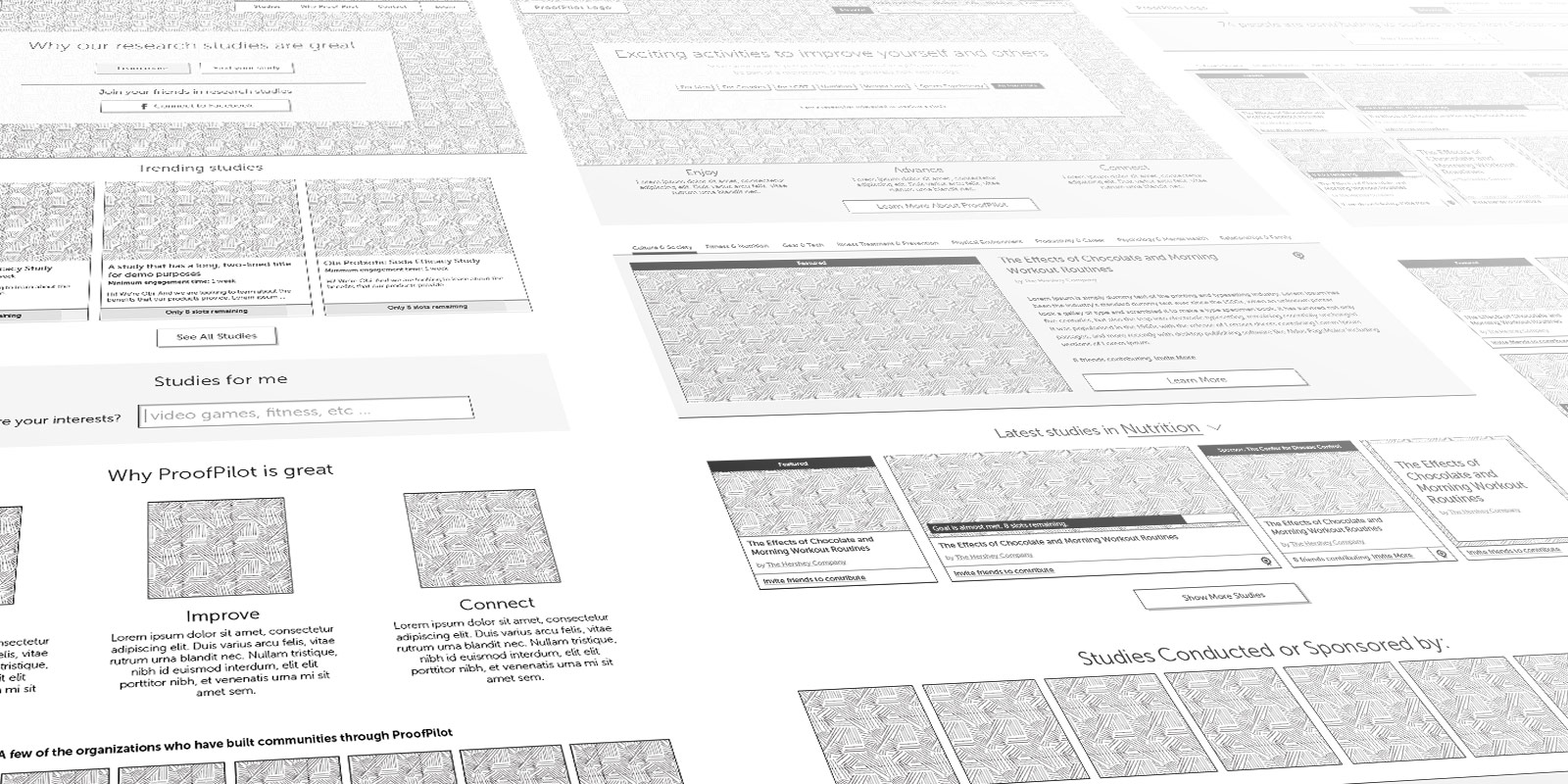 Wireframes created by Communify as technical outlines for ProofPilot's development team