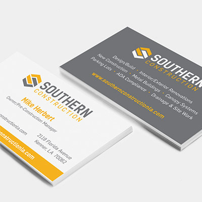 Southern Construction business cards featuring a redesigned logo