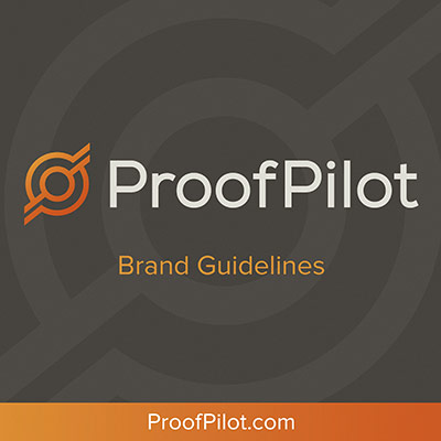 cover of the brand guidelines created for ProofPilot as a part of their branding makeover
