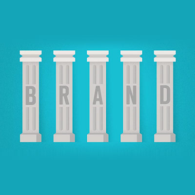 "illustration of pillars that spell out ""BRAND"""