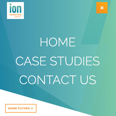 ION Marketing Group's website navigation based on a meticulous and well-thought out UX plan