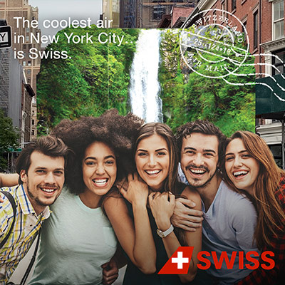 Photo backdrop for a Swiss airlines activation developed by Communify