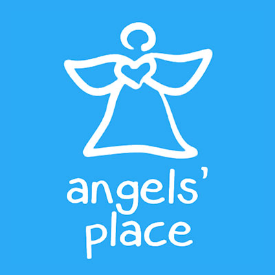 Angels' Place white logo over blue background