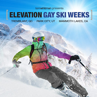 part of an eblast designed for tomwhitman's Elevation Gay Ski Weeks featuring a skier in a rainbow jacket