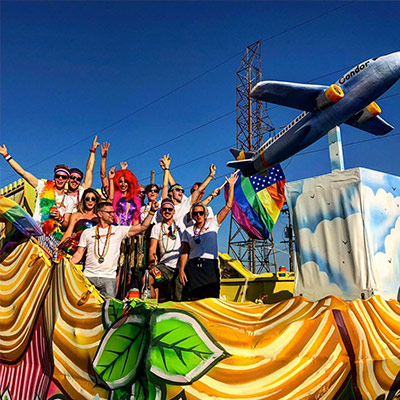 Riders on Condor airlines' first ever New Orleans Pride float