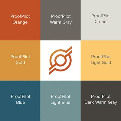 Color palette and logo from Proof Pilot's full branding kit