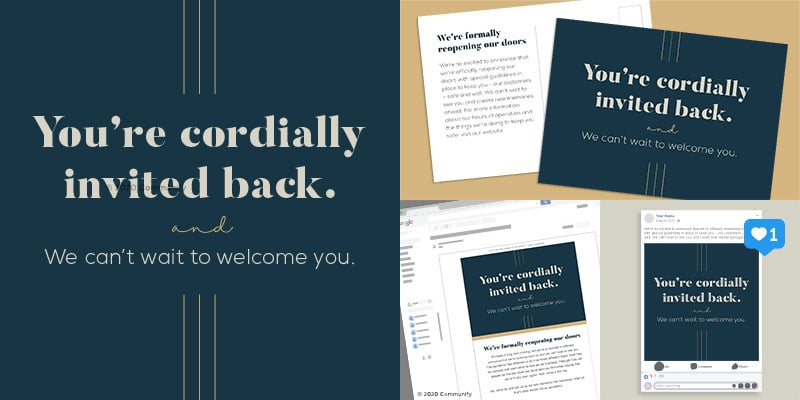 Business Welcome Back Marketing Packages - You're Invited